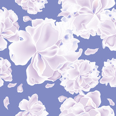 Seamless background pattern of rose blossom or flowering in a purple background. vector. wrapping paper, printing on fabric