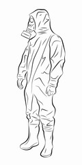 illustration of a man in a chemical suit, vector draw
