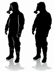 silhouette of a man in a chemical suit, vector draw