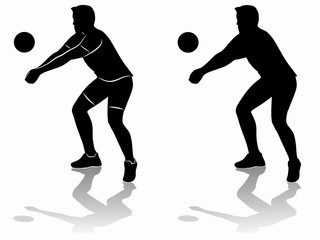 silhouette of a volleyball player , vector draw