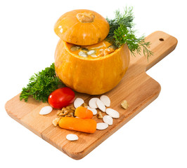 squash soup in baked pumpkin