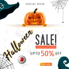 Hallowen Sale vector illustration with pumpkin head. Halloween special offer.