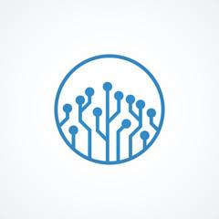 blue circuit board , logo design