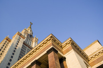 Moscow State University - beautiful view from the bottom of the main building from the entrance with a clear blue sky