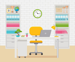 Office room interior. Workplace, workspace with furniture and equipment. Vector. Room design in flat style. Cartoon illustration on business theme.