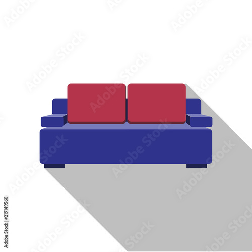 Sofa Icon Vector Flat Design With Long Shadow Purple Couch