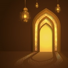 Mosque door glow islamic background with arabic geometric pattern