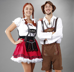 Bavarian people and free space for your decoration.