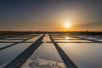 salt marsh at sunset