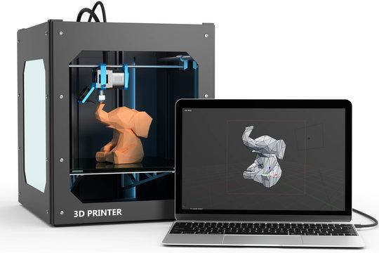 3D drucker mit Computer und 3D Software