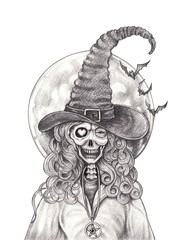 Art Witch Skull Tattoo. Hand pencil drawing on paper.