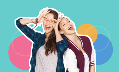 people, fashion and friendship concept -magazine style collage of happy teenage girls having fun...