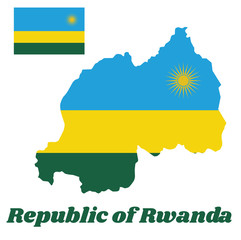 Map outline and flag of Rwanda, A horizontal tricolor of blue, yellow and green with a yellow sun in the upper corner. with name text Republic of Rwanda.