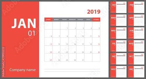 2019 Calendar English Calender Color Vector Template Week Starts