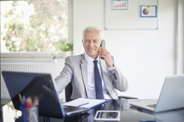 Businessman making call and using laptop in the office