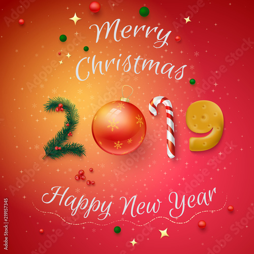 Christmas And New Year Cards 2019 Red 2019 Merry Christmas and Happy New Year card.