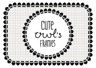 Vector illustration. Two cute owl's frames. Black and white.