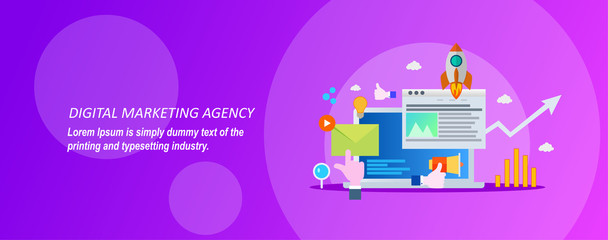Concept for digital marketing agency on a violet background