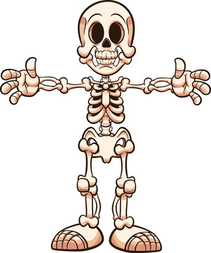 Cartoon skeleton with separate parts. Vector clip art illustration with simple gradients. Some elements on separate layers.
