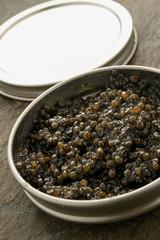 fresh caviar in tin