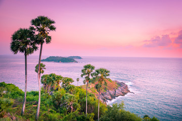 Landscape view point of Laem Phromthep Cape at sunset sky. The most famous tourist attraction in Phuket province, Thailand.