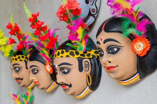 Chhau or Chhou masks on diaplay for sale
