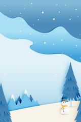 Photo sur Aluminium Bleu jean Snowman and Winter landscape with paper art style and pastel color scheme