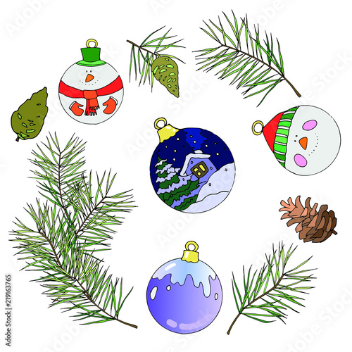 Colorful Christmas Ornaments Drawings.Isolated Vector Drawings With Fir Branches Pine Cones And