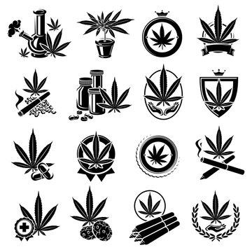 Cannabis, marijuana labels and elements set. Cannabis icon collection. Vector