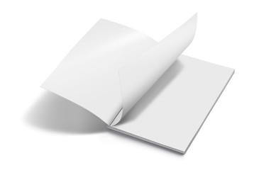 Blank opened magazine mockup template realistic on white background 3d illustration