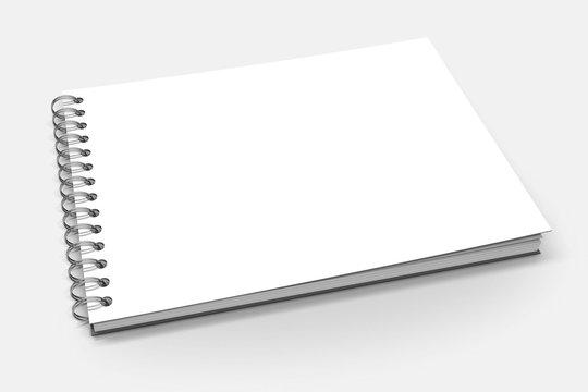 Spiral binder, blank notebook mock up on white background 3d illustration