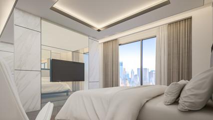 Interior design of Master bedroom in high-rise residential building , 3d rendering