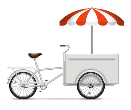 Food cart on white background for vehicle branding, corporate identity. Isolated cargo bike vector illustration with side view.