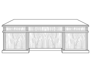 Large wooden table. Office table of the chief. Linear picture for coloring.