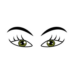 Eyes green woman cartoon sign. Darling isolated icon. Fashion graphic design flat element. Modern stylish abstract symbol. Colorful template for prints, logo, label, tattoo, sign. Vector illustration.