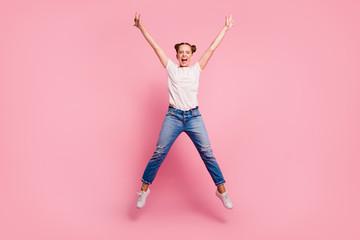 Full legs, body, size portrait of young brunette girl in white t