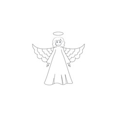 Angel silhouette. Biblical personage. Symbol christmas season, holiday easter, religion, and love. Monochrome template for prints, textiles, greeting card, banner. Design element. Vector illustration.