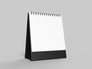 Blank desk top calendar isolated on white background for mock up and print designs.