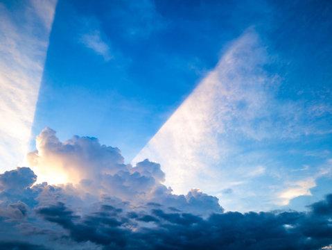 Idyllic blue sky with Sunset ray