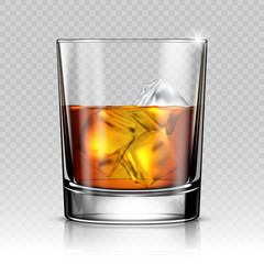 Glass of whiskey with ice isolated on transparent background