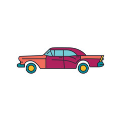 Old cuban car icon, cartoon style