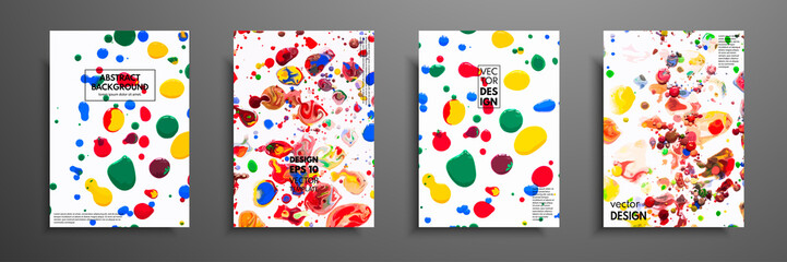 Fototapete - Mixture of acrylic paints. Fluid art. Collection of universal trendy cards. Hand drawn textures. Contemporary graphic design for header, banner, poster, card, cover, invitation, placard, brochure.