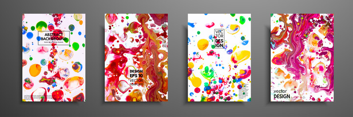 Set of universal cards. Fluid art. Hand drawn cards with abstract grunge textures. Use for printed materials, invitations, greeting cards, covers, placards, posters, postcards, brochures and flyers.