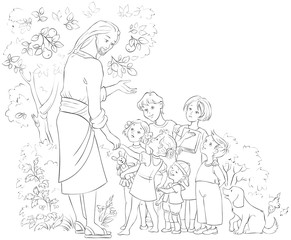 Jesus with Children. Coloring page