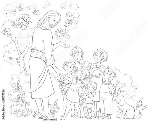 Jesus with Children. Coloring page\