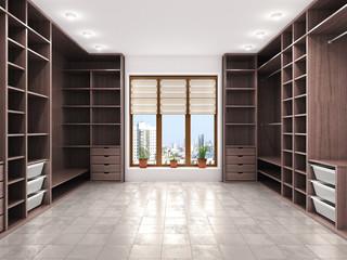 Modern luxury dressing room, wardrobe, 3d visualization