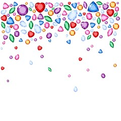 Set of realistic jewels. Colorful gemstones. Raster gemstone Illustration