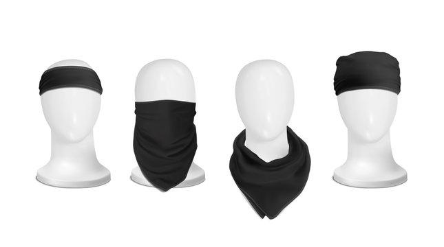 Vector. Mock Up. Black Set Bandana (buff) for head on the manekenium head