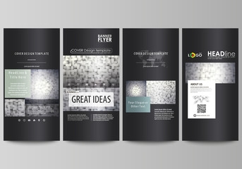 Flyers set, modern banners. Business templates. Cover design template, easy editable abstract vector layouts. Pattern made from squares, gray background in geometrical style. Simple texture.