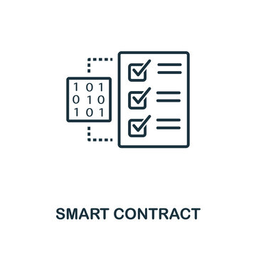 Smart Contract icon. Monochrome style design from crypto currency icon collection. UI. Pixel perfect simple pictogram smart contract icon. Web design, apps, software, print usage.